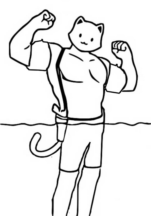Coloring Page Fortnite Chapter 2 Season 3 Meowscles Semi Submerged In Water 9