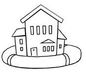 Dibujo para colorear Casa en una boya