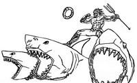 Dibujo para colorear Aquaman - Tiburones
