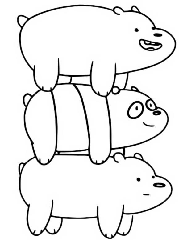 Coloring page Panda, Grizzly, Ice Bear - We bare bears