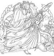 ぬりえ 稲田の女神・クシナダヒメ