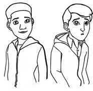 Coloring page Ben and Darius