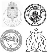 Coloring page Group C: Porto - Manchester City - Olympiakos - Marseille