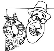 Coloring page Joe and his cat