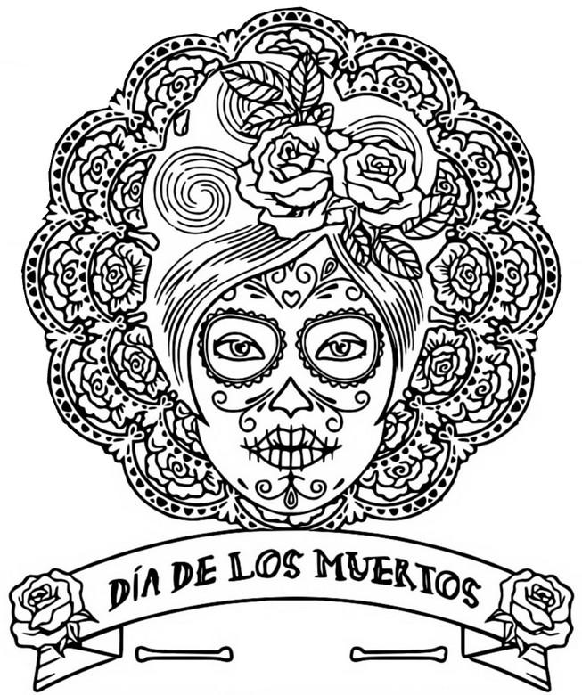 Coloring Page The Day Of The Dead : Dia De Los Muertos 1