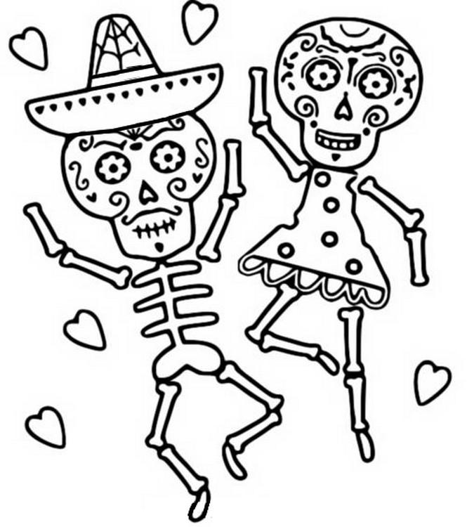 Disegno Da Colorare Il Giorno Dei Morti Danza Scheletro 11