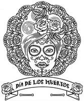 Dibujo para colorear Dia de los muertos