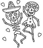 Disegno da colorare Danza scheletro