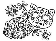 Dibujo para colorear Perro y gato