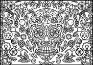 Dibujo para colorear Cráneo, flores y pájaros