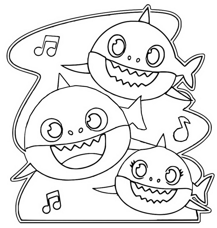 Coloring Page Baby Shark Baby Shark Dad And Mom 4