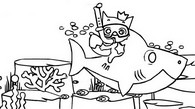 Coloring page Baby Shark and Pinkfong