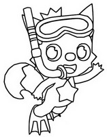 Coloring page Pinkfong, fins and snorkel