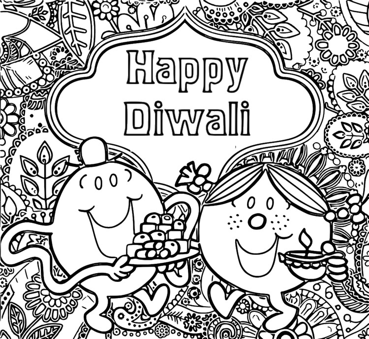 Coloring Page Diwali Mr Men And Little Miss Are Celebrating Diwali 1