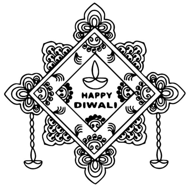 Coloring Page Diwali Happy Diwali 4