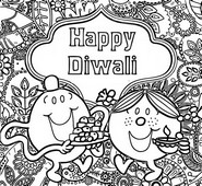 Coloring page Mr. Men and Little Miss are celebrating Diwali