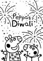 Kleurplaat Peppa Pig viert Diwali