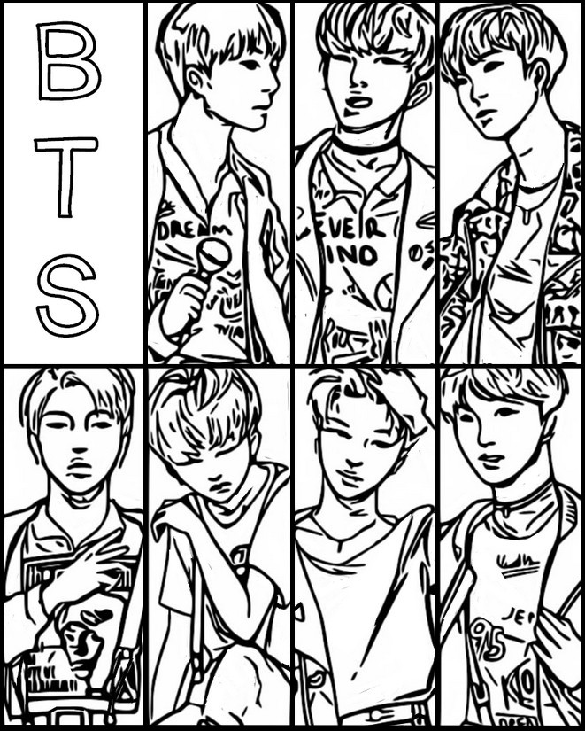 Coloring Page Bts South Korean Group 1