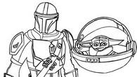 Fargelegging Tegninger Baby Yoda & Mandalorian
