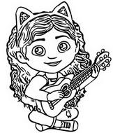 Malebøger Gabby spiller guitar