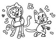 Tulostakaa värityskuvia DJ Catnip ja Pandy Paws