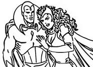 Dibujo para colorear Visión y la Bruja Escarlata