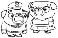 Coloring page Little Momma Pug and Little Poppa Pug