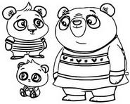 Coloring page Nico Panda, Bodi Panda and Amanda Panda