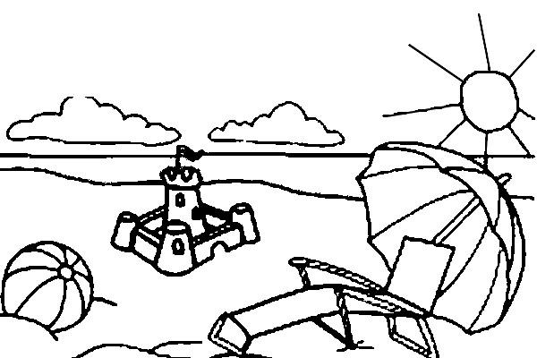 Dibujo Para Colorear Playa Palmeras 12