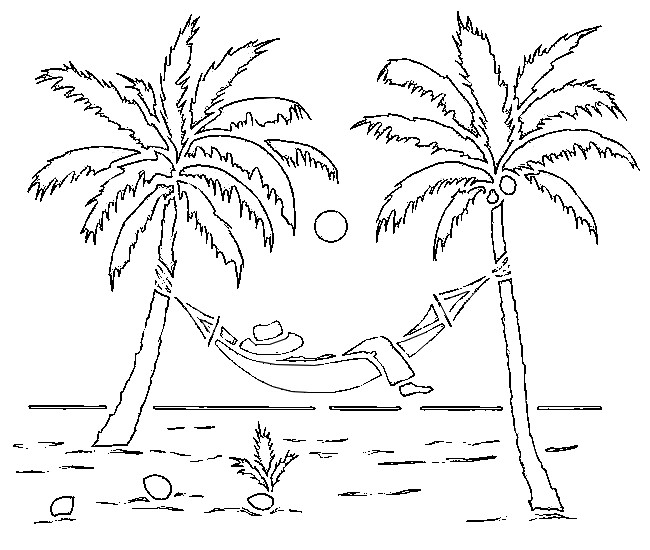 coloring page beach palm trees - Palm Tree Beach Coloring Page