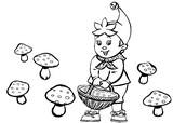Tulostakaa värityskuvia Noddy kerää sieniä