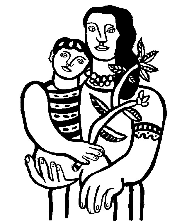 coloring page art famous paintings fernand l ger mother and child 1