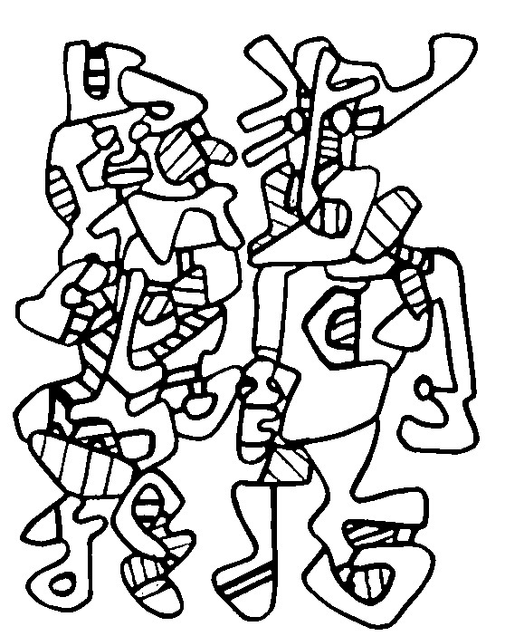 coloring page art famous paintings jean dubuffet wedding parade 3