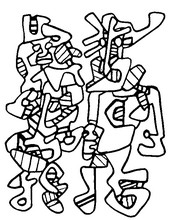 Coloring page Jean Dubuffet: wedding parade