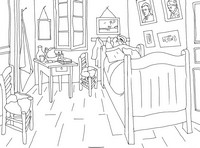 Coloring page Van Gogh: The bedroom