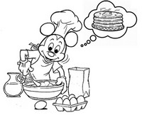 Tulostakaa värityskuvia Mickey pannukakkujen
