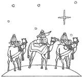 Kolorowanka Trzech Króli na wielbłądach