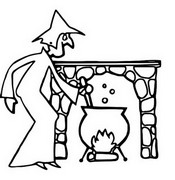 Coloring page Witch and her cauldron