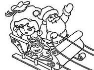 Malebøger Dora på Julemandens slæde