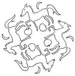 Tulostakaa värityskuvia Mandalas hevoset