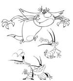Desenho para colorir Oggy e as baratas tontas