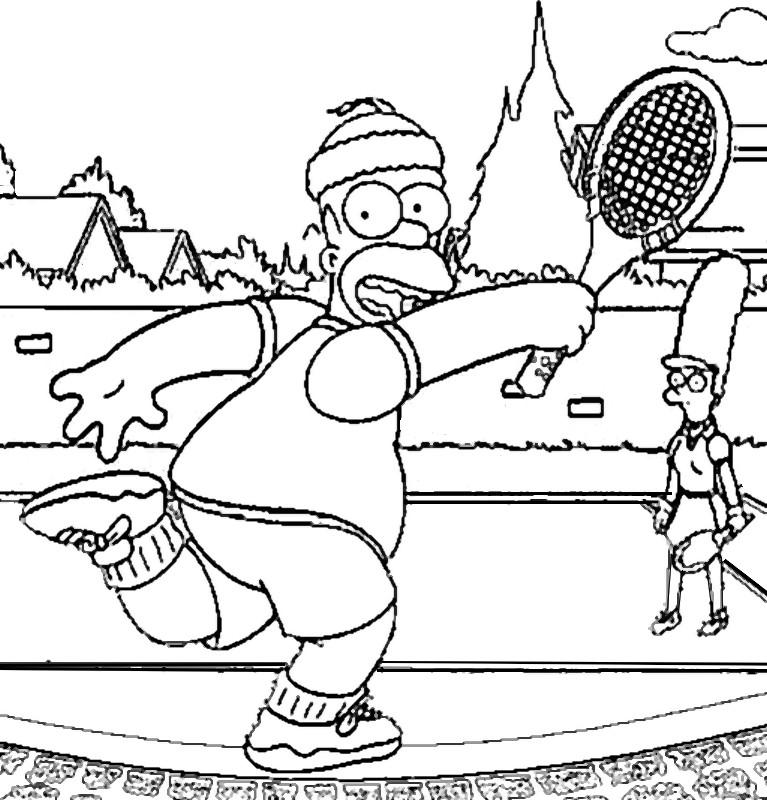 Dibujo Para Colorear Tenis Tenis Bart Simpson 15