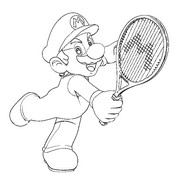 Coloring page Tennis Super Mario
