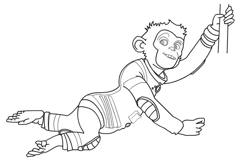 Coloring page space chimps