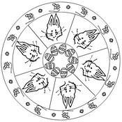 Tulostakaa värityskuvia Mandala Pääsiäispupu
