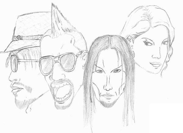 Desenho para colorir Celebridades : Black Eyed Peas 1