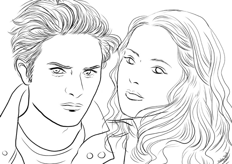 Twilight Da Colorare.Disegno Da Colorare Celebrita Twilight Edward Bella 1