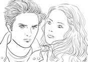 Coloring page Twilight - Edward and Bella