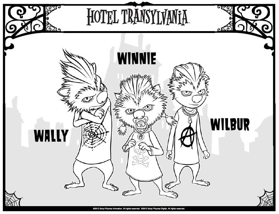 kleurplaat hotel transylvania winnie wally wilbur 4