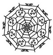 Coloring page Pumpkins in a spider web